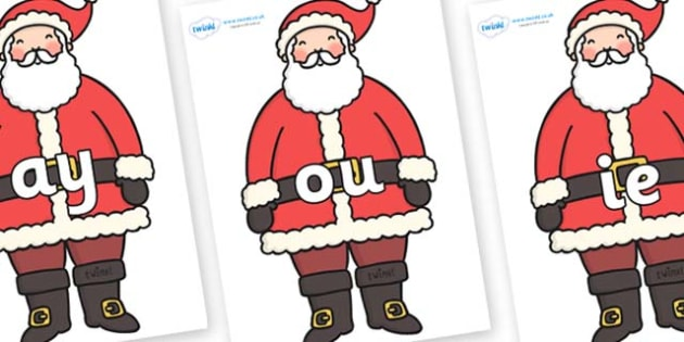 Phase 5 Phonemes on Santa - Phonemes, phoneme, Phase 5, Phase five, Foundation, Literacy, Letters and Sounds, DfES, display