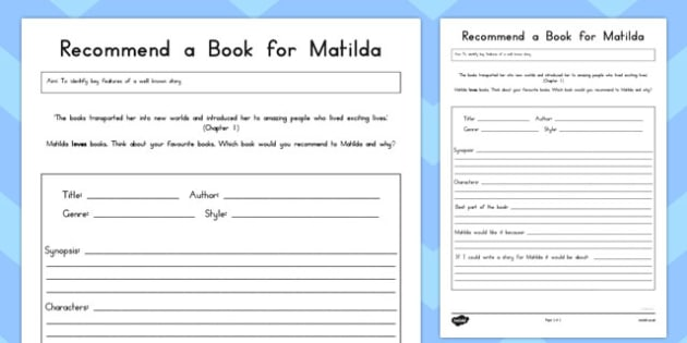 Recommend a Book for Matilda Worksheet to Support Teaching on Matilda - australia, matilda