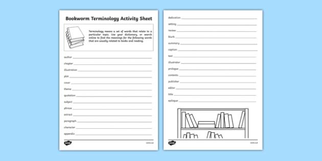 Bookworm Terminology Activity Sheet, worksheet