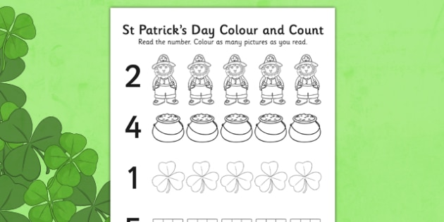 St Patricks Day Themed Count and Colour Sheet - count, colour