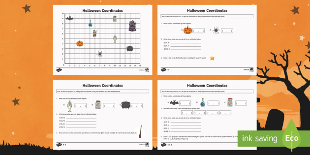 Year 4 Halloween Coordinates Activity - year 4, halloween, coordinates, activity, hallows eve, hallowe'en, samhain