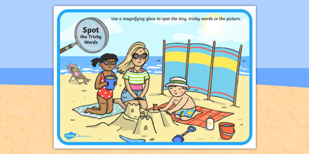 Phase 4 Tricky Words Beach Scene Magnifying Glass Activity Sheet, worksheet