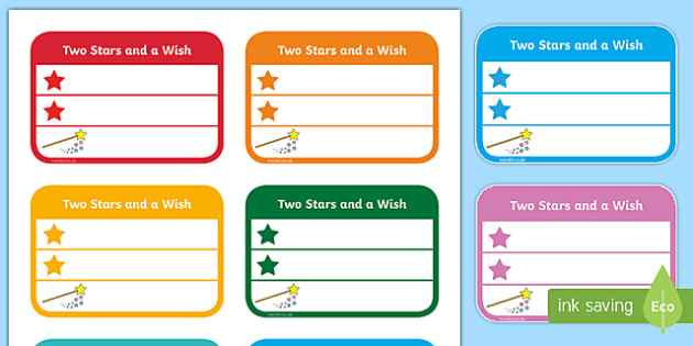 Two Stars and a Wish Comment Labels (Small) - work comment, marking work, work label, book label, comment label, two stars, two stars and a wish, mark work, book mark label