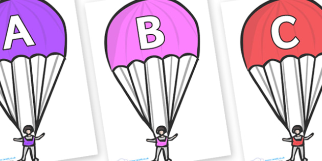 A-Z Alphabet on Parachutes - A-Z, A4, display, Alphabet frieze, Display letters, Letter posters, A-Z letters, Alphabet flashcards