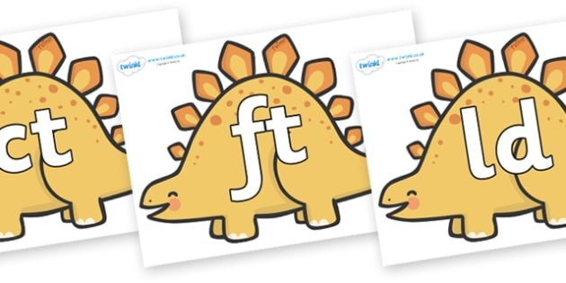 Final Letter Blends on Stegosarus Dinosaurs - Final Letters, final letter, letter blend, letter blends, consonant, consonants, digraph, trigraph, literacy, alphabet, letters, foundation stage literacy
