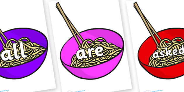 Tricky Words on Chinese Noodles - Tricky words, DfES Letters and Sounds, Letters and sounds, display, words