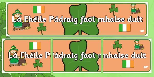 Lá Fhéile Pádraig faoi mhaise duit Banner Gaeilge - Irish, Gaeilge, banner, Saint Patrick's Day, display