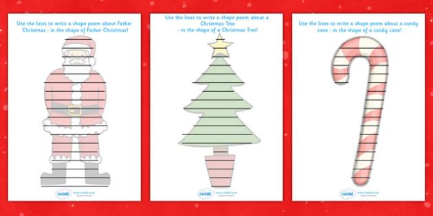 Christmas Themed Shape Poetry Templates - christmas, shape poetry