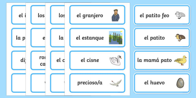 The Ugly Duckling Word Cards-Spanish