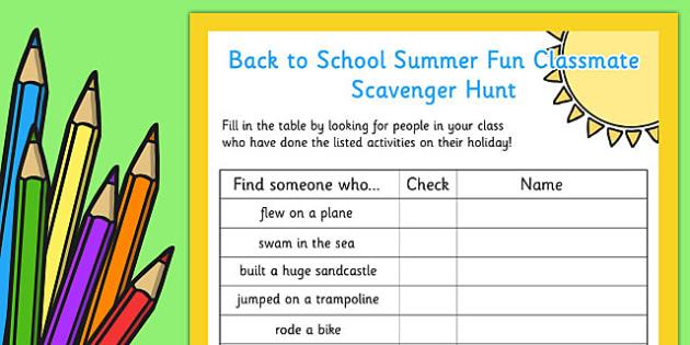 Back to School Summer Fun Classmate Scavenger Hunt - scavenger