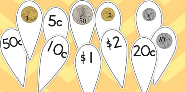 Australian Coins Printable Number Fans - australia, coin, number, fans