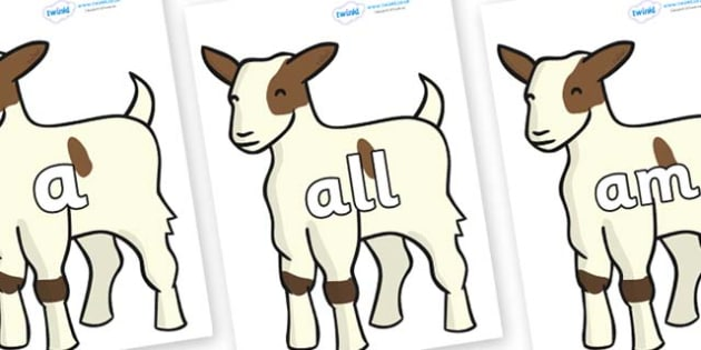 Foundation Stage 2 Keywords on Baby Goats - FS2, CLL, keywords, Communication language and literacy,  Display, Key words, high frequency words, foundation stage literacy, DfES Letters and Sounds, Letters and Sounds, spelling
