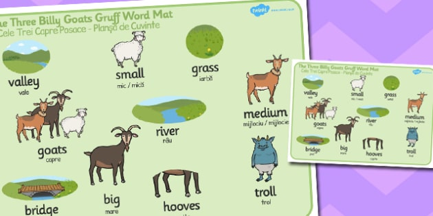 The Three Billy Goats Gruff Word Mat Romanian Translation - romanian