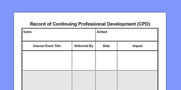 Record Of Continuing Professional Development Cpd Record