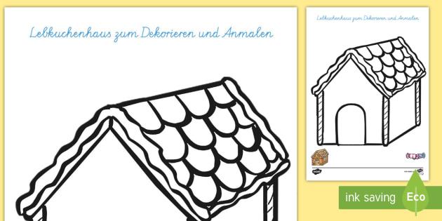 Hänsel und Gretel Lebkuchenhaus zum Dekorieren und Anmalen Aktivität - Hänsel und Gretel, Märchen, Lebkuchenhaus,German