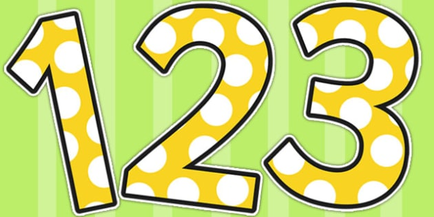 Yellow and White Spots A4 Themed Display Numbers - A4, Letters