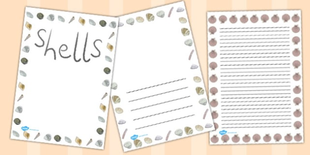 British Seashell Page Borders - british, seashell, page, borders