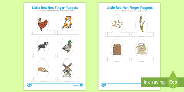 Little Red Hen Finger Puppets - finger, puppets, little red hen