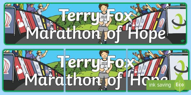 Terry Fox Display Banner - Terry Fox, canada, canadian, run, walk , cancer, marathon, hope, hero