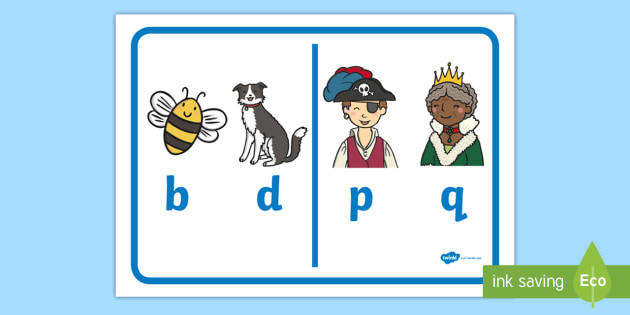 b and d, p and q Display Poster - b and d, p and q, b and d letter formation, difference, b and d visual aid, difference between b and d, b and d resource, writing area display, display, poster, sign