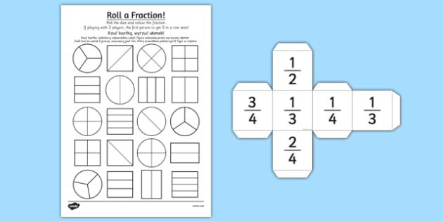 Year 2 Roll a Fraction Activity Sheet Polish Translation - polish, activities, fractions, worksheet