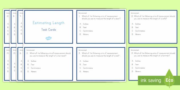 Estimating Length Task Cards - Common Core, Second Grade, Measurement, Length, Estimating