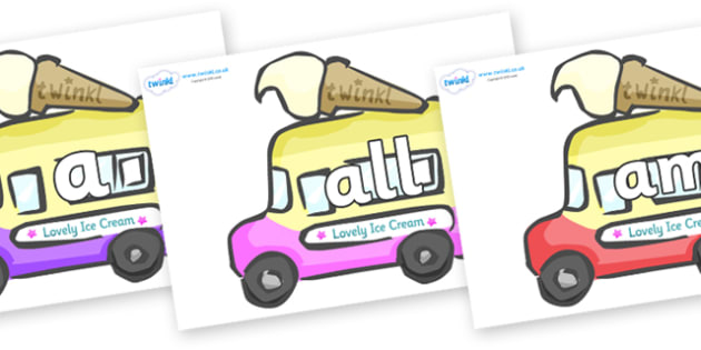 Foundation Stage 2 Keywords on Ice Cream Vans - FS2, CLL, keywords, Communication language and literacy,  Display, Key words, high frequency words, foundation stage literacy, DfES Letters and Sounds, Letters and Sounds, spelling