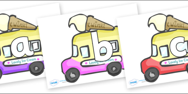 Phoneme Set on Ice Cream Vans - Phoneme set, phonemes, phoneme, Letters and Sounds, DfES, display, Phase 1, Phase 2, Phase 3, Phase 5, Foundation, Literacy