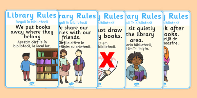 Library Rules Display Posters Illustrations Romanian Translation - romanian, library rules, library, rules, illustrations, display, poster, sign, keep quiet, quiet, silence, reading, books, reading area, images, pictures