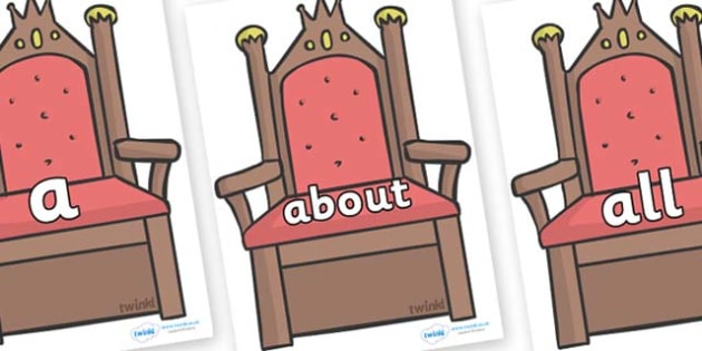 100 High Frequency Words on Thrones (Plain) - High frequency words, hfw, DfES Letters and Sounds, Letters and Sounds, display words