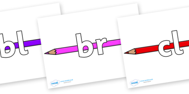 Initial Letter Blends on Pencil Crayon - Initial Letters, initial letter, letter blend, letter blends, consonant, consonants, digraph, trigraph, literacy, alphabet, letters, foundation stage literacy