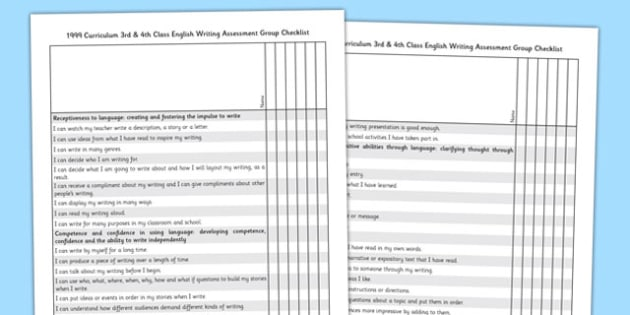 1999 Curriculum 3rd & 4th Class English Writing Assessment Group Checklist - Ireland, Irish