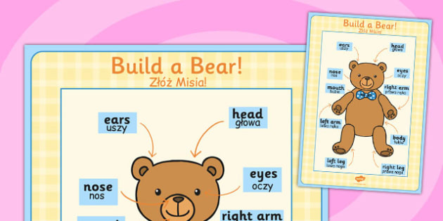 Large Format Build a Bear Poster Polish Translation - polish, build a bear, poster, display