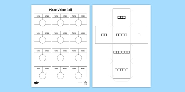 Place Value Roll Activity Dice Net and Activity Sheet - numeracy, visual aid, dice, Place value, tens, one, units, dice, partition