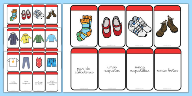 Tarjetas educativas Ropa - ropa, prendas, vocabulario