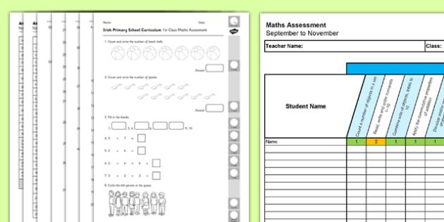 1st Class Maths Irish Curriculum Assessment Pack September to November - Maths, Irish curriculum, 1st Class, assessment