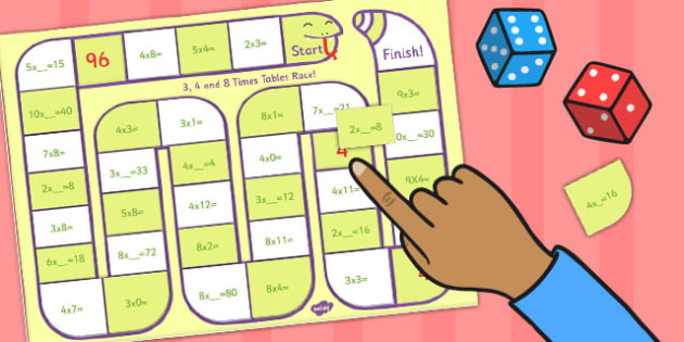 Self Checking 3 4 and 8 Times Tables Board Game - times tables