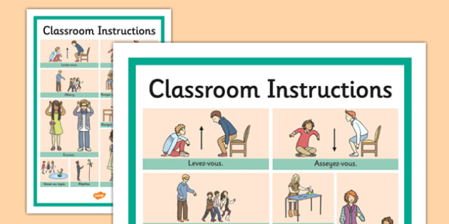 French Classroom Instructions Word Grid - french, classroom
