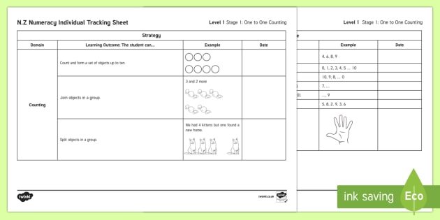Stage 1 Numeracy Individual Assessment Checklist - New Zealand Planning and Assessment, numeracy, mathematics, stage 1, stage 0,emergent mathematics, s