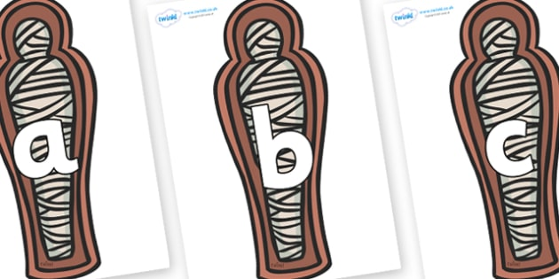 Phoneme Set on Mummies (Coffins) - Phoneme set, phonemes, phoneme, Letters and Sounds, DfES, display, Phase 1, Phase 2, Phase 3, Phase 5, Foundation, Literacy