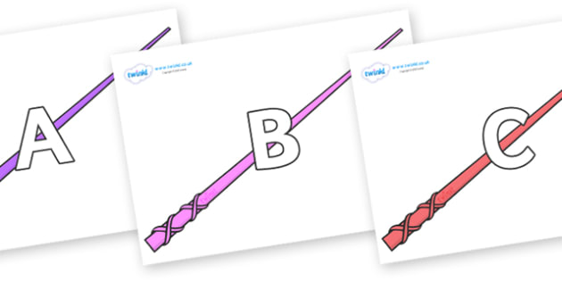 A-Z Alphabet on Wands - A-Z, A4, display, Alphabet frieze, Display letters, Letter posters, A-Z letters, Alphabet flashcards