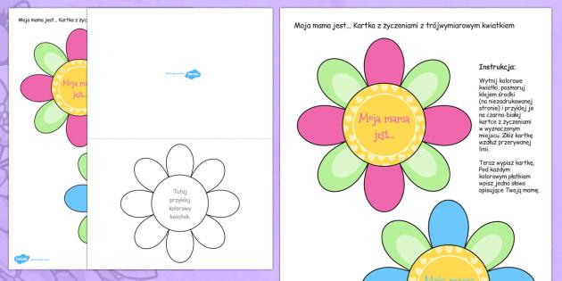 Kartka z kształcie kwiatka Dzień Matki