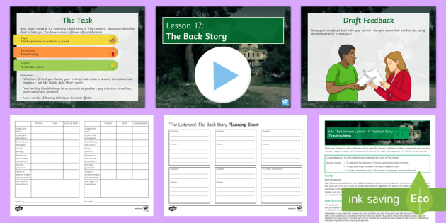 Into the Unknown Pre-1914 Literature Lesson Pack 17: The Back Story - Into The Unknown, The Listeners, Walter de la Mare, creative writing, narrative poem, short story, l