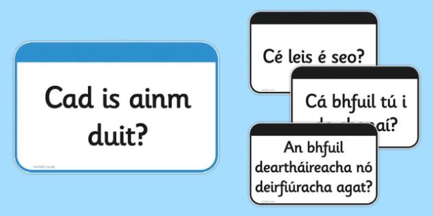 Useful Questions Flashcards Gaeilge - useful questions, flash cards, flashcards, questions