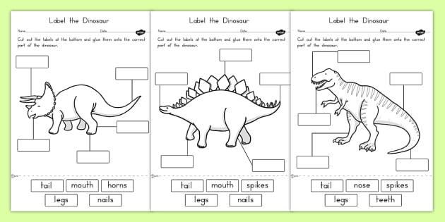Label the Dinosaur Worksheets - australia, dinosaur, worksheets