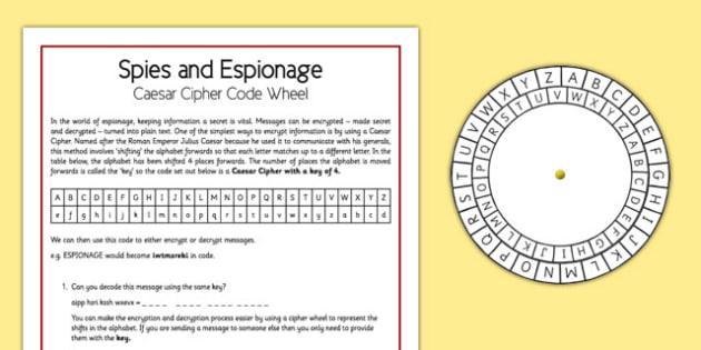 Spies and Espionage Caesar Cipher Code Wheel - spies, espionage, caser cipher code wheel, home education