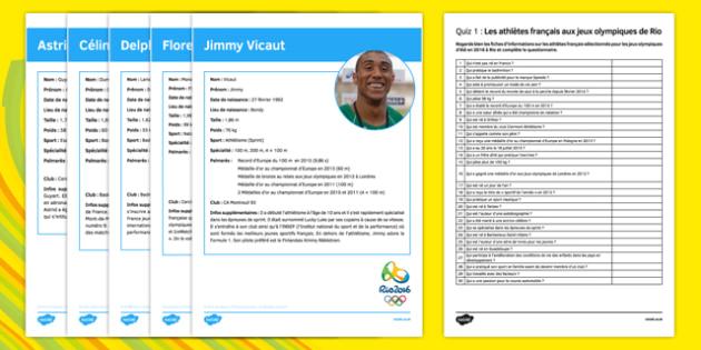 French Olympic Athletes Quiz 1 Activity Sheet - French, worksheet