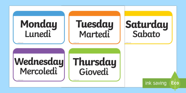 Days of the Week Flashcards English/Italian - Days of the Week