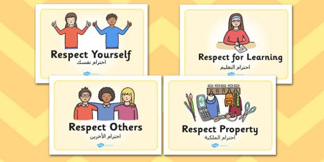 Respectful Behaviour Display Posters EAL Arabic Translation
