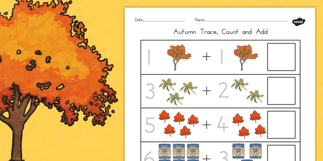 Autumn Trace Count and Add Worksheet - autumn, count, trace